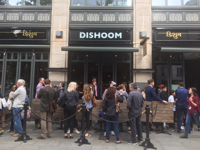Queues at the Dishoom, Covent Garden outlet at 6 pm