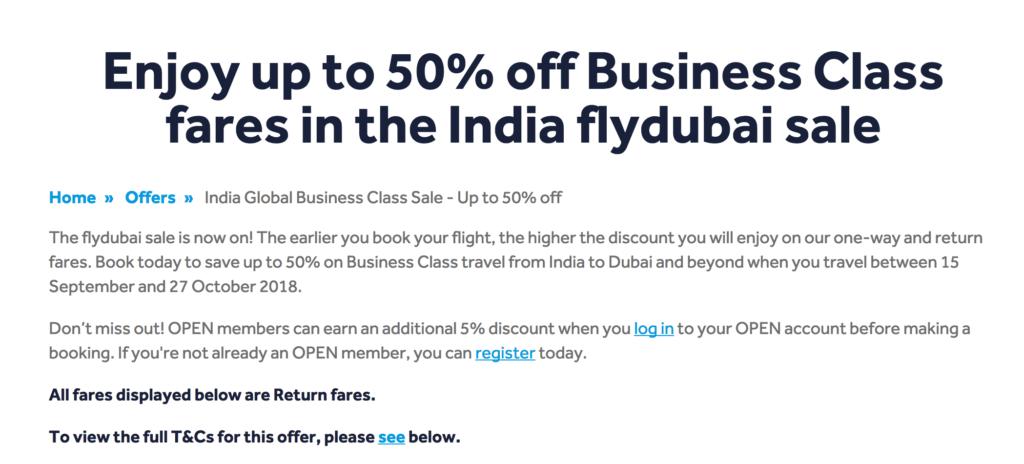 FlyDubai Business Class Sale