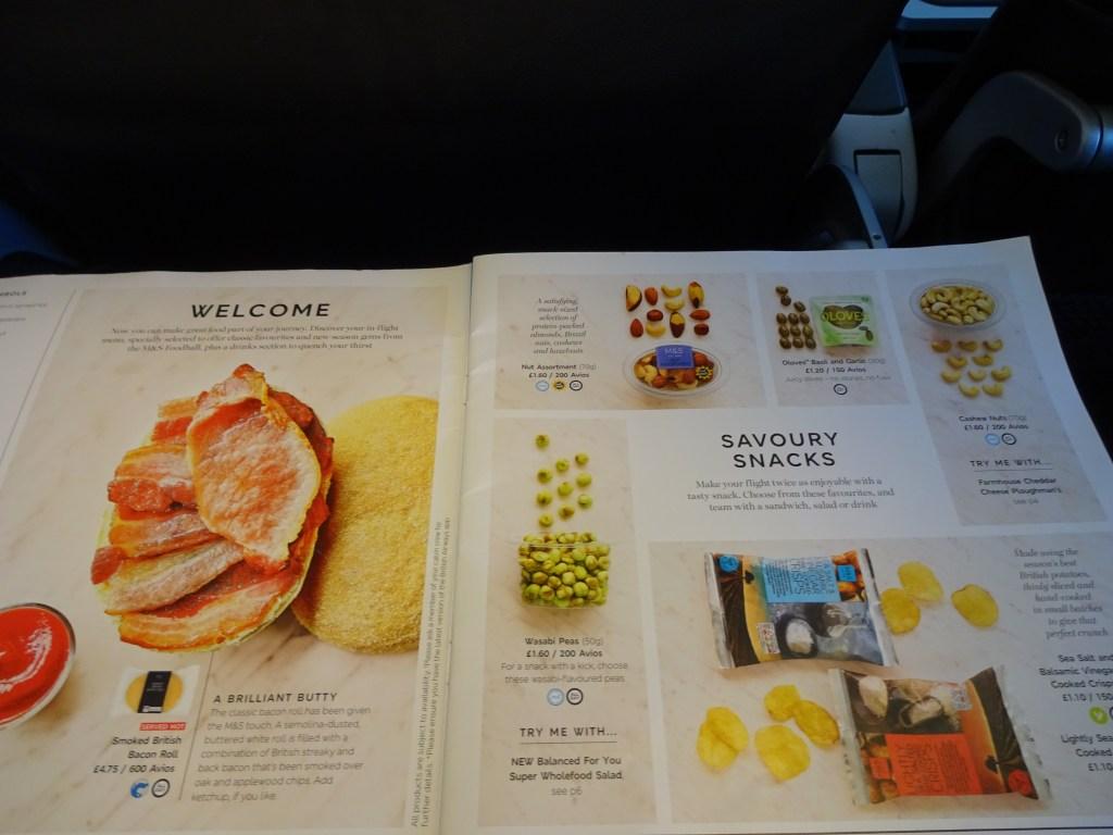 Snack Menu British Airways Buy on Board