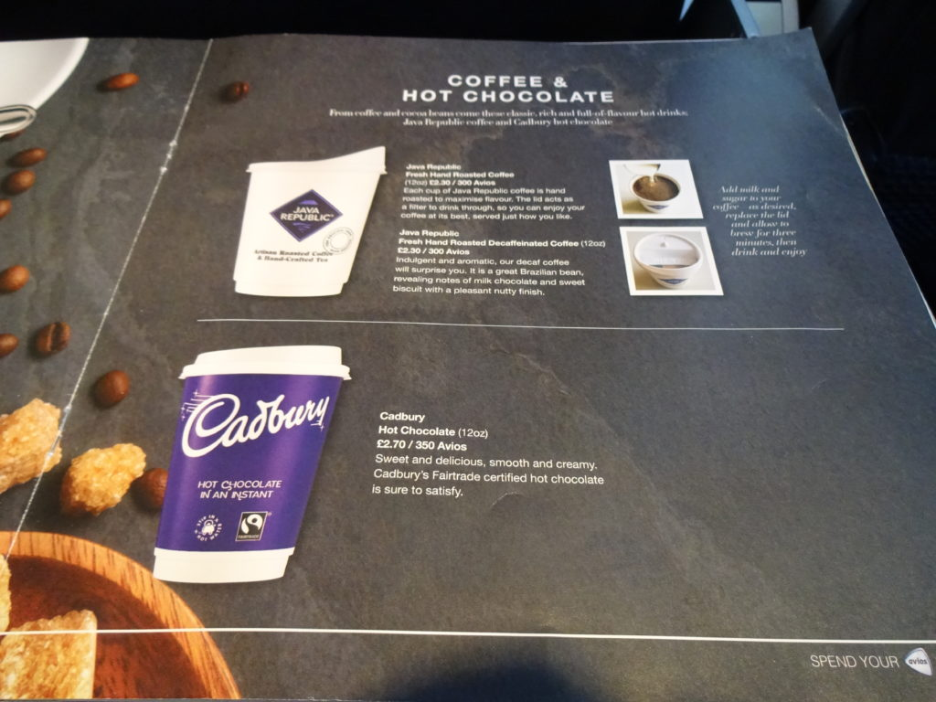 Hot Beverages Menu British Airways Buy on Board