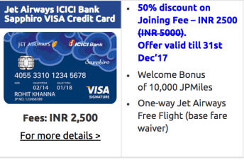 Jet Airways ICICI Bank Sapphiro Visa Credit Card