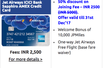 Jet Airways ICICI Bank Sapphiro Amex Credit Card