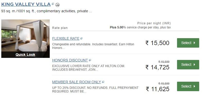Hilton India sale