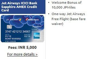 Jet Airways ICICI Bank Sapphiro Amex Credit Card