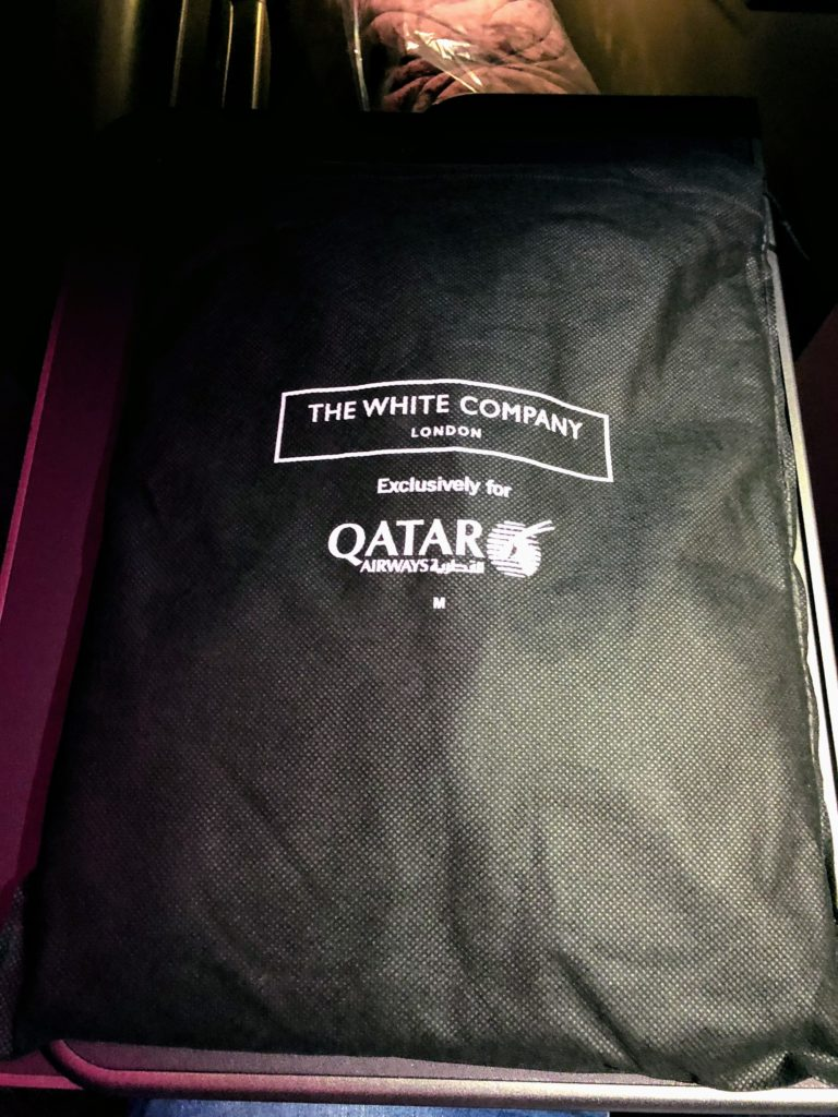 The White Company Pajamas on board Qatar Airways