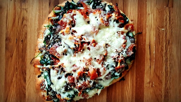 Bacon, Onion & Spinach Naan Pizza