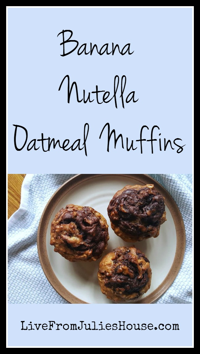 Banana Nutella Oatmeal Muffins - The flavor combo of the Nutella, bananas and oatmeal makes these easy muffins SO yummy!