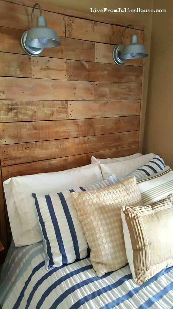 DIY Giant Pallet Headboard with galvanized sconces