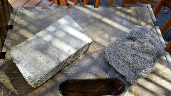 Steel wool and sanding block for show rack project