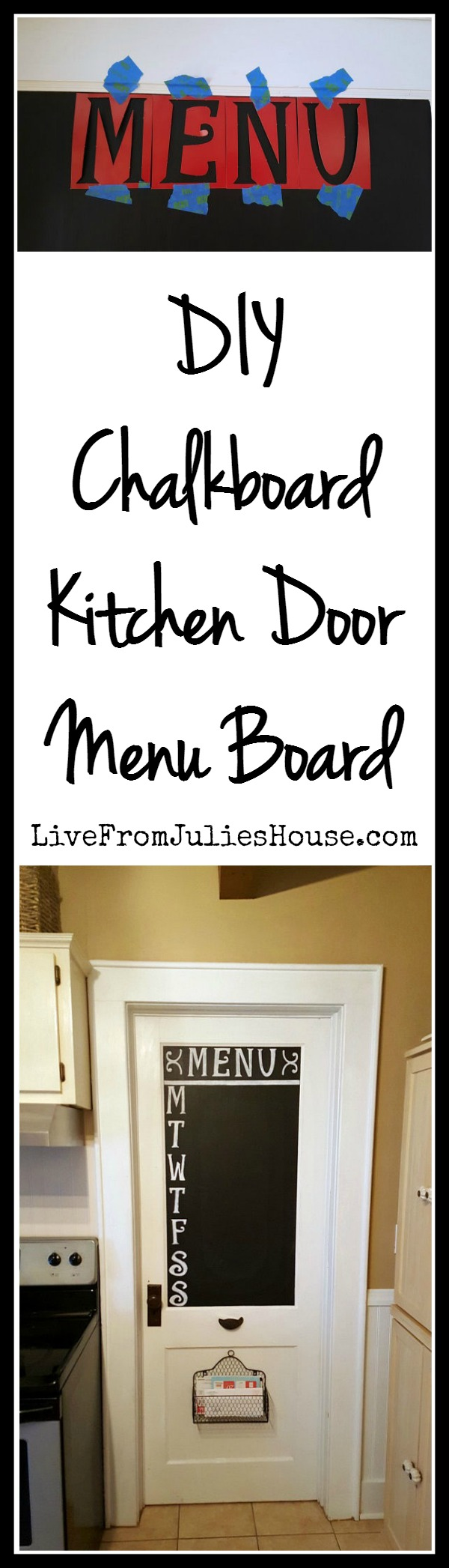 Chalkboard Menu Board - Make a DIY Menu board without taking up precious wall space in the kitchen