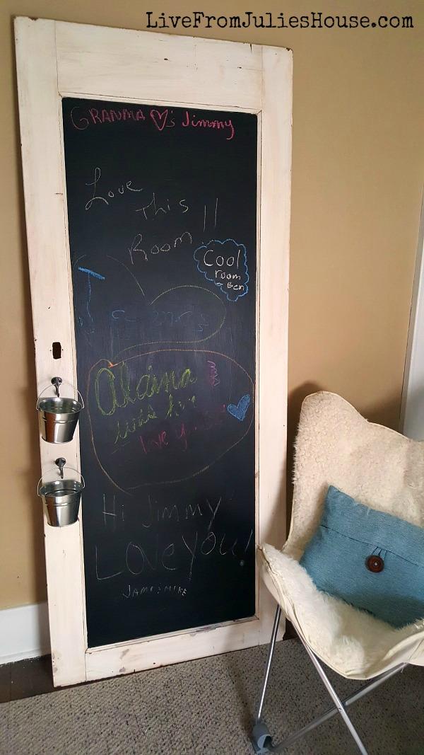 Guest Bedroom Old Door Chalkboard & DIY Chalkboard Kitchen Door Menu Board - Live from Julie\u0027s House Pezcame.Com