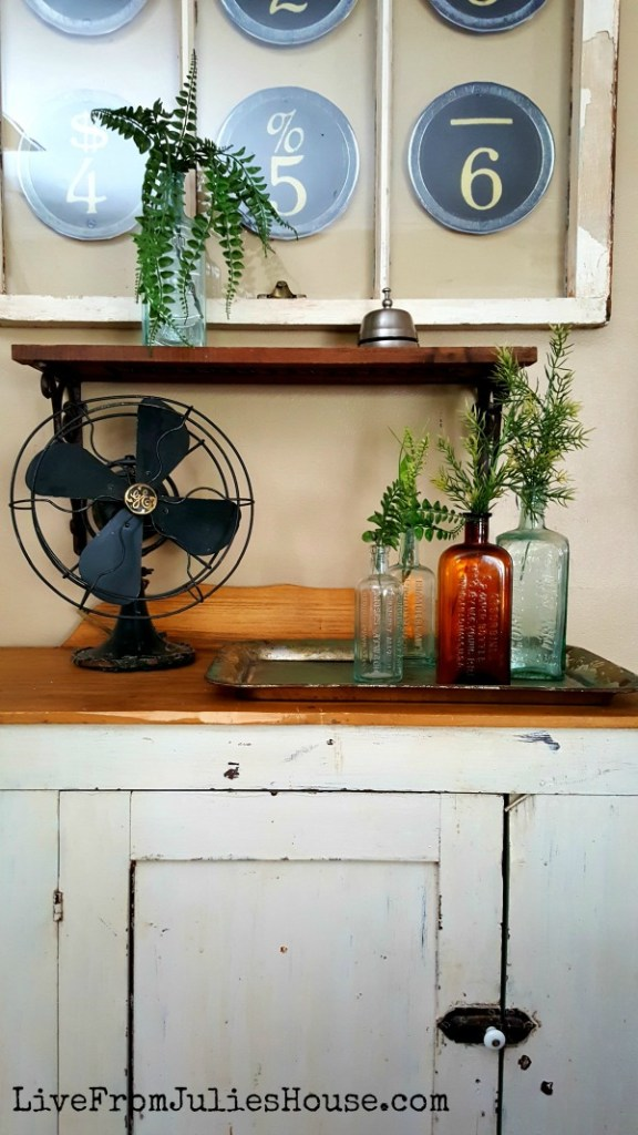Old window and flea market cabinet