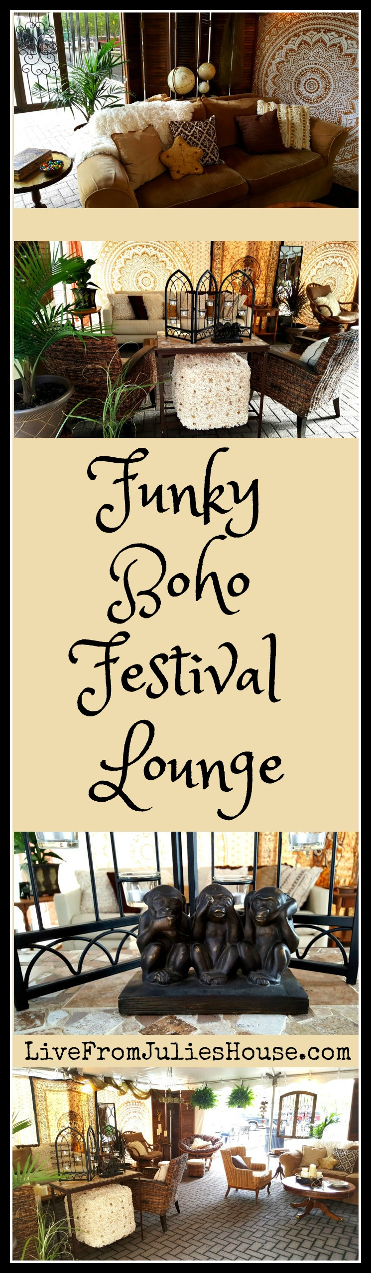 Fun & Funky Boho Festival Lounge - I recently created a fun & funky boho lounge for a festival I am involved with. The best part is - I made it all happen with a $500 budget!