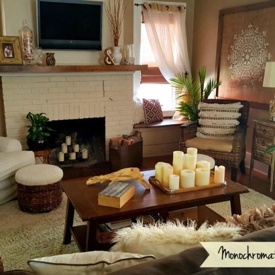 Monochromatic Boho Living room