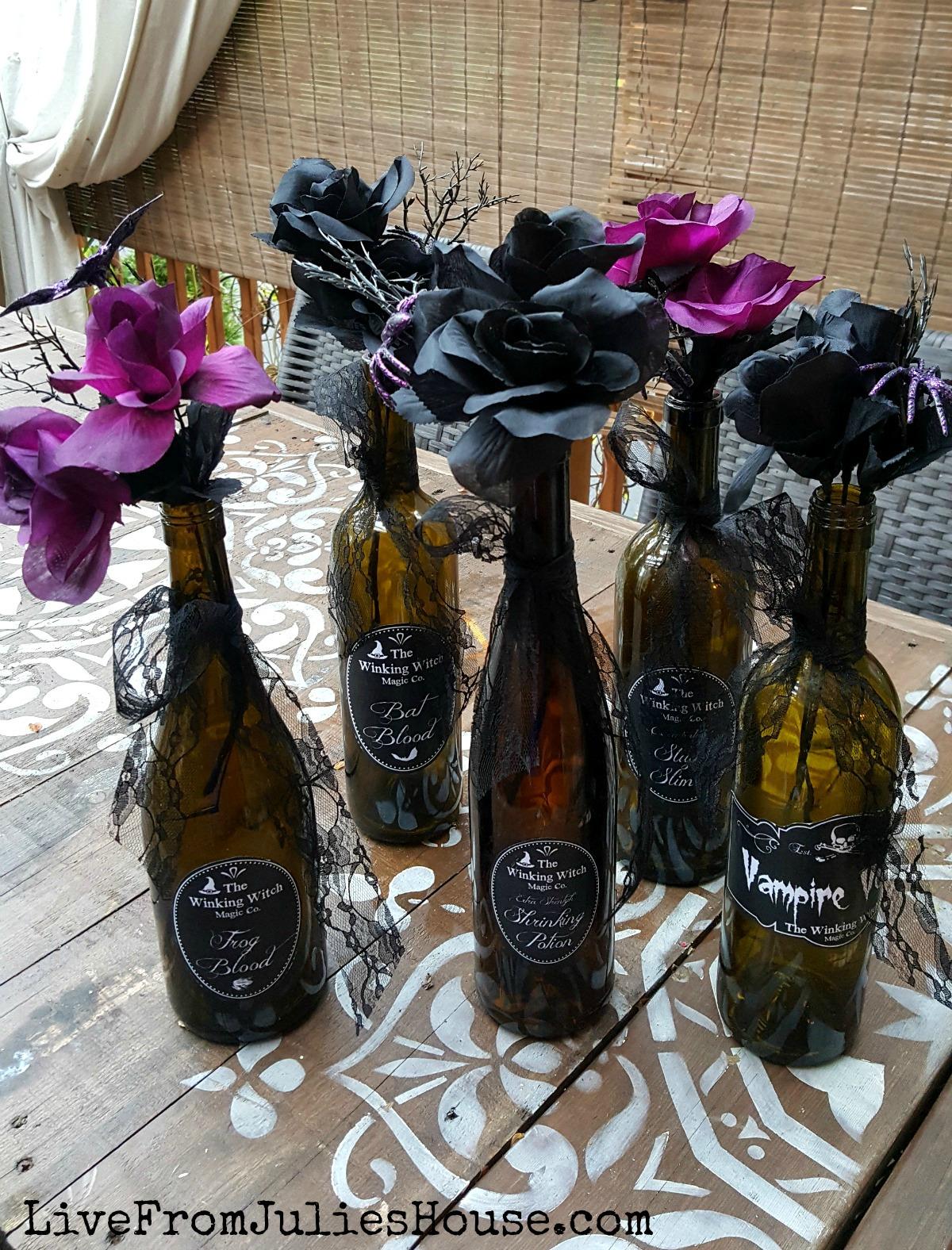Halloween Decor on the Cheap: Pretty Poison Vases