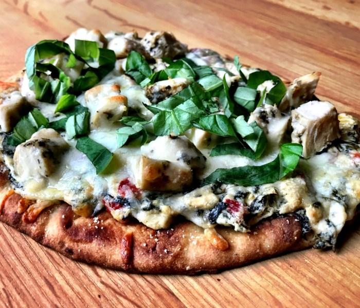 Cheesy Spinach Artichoke Naan Pizza