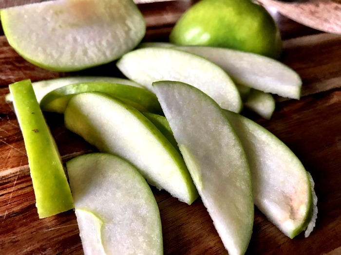 Cored and sliced Granny Smith apple