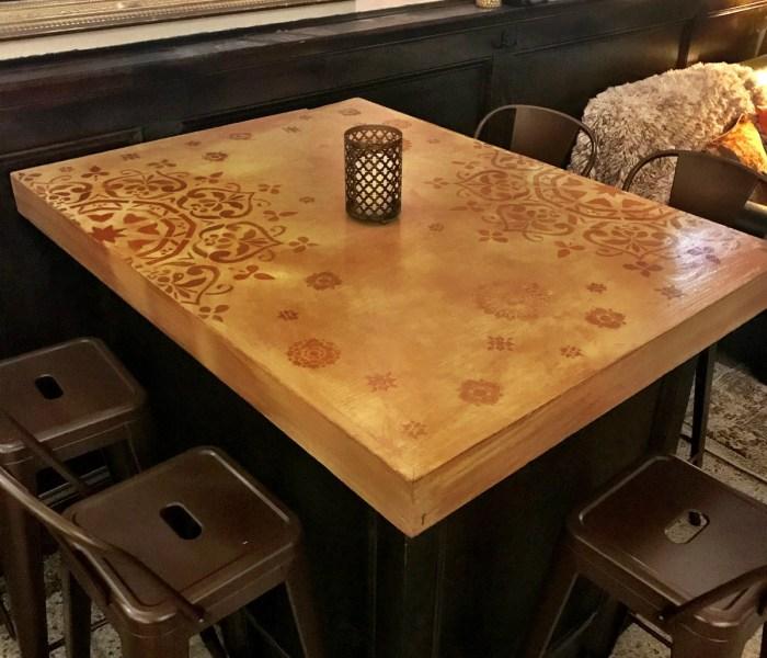 Mandala Stenciled Bar Tables