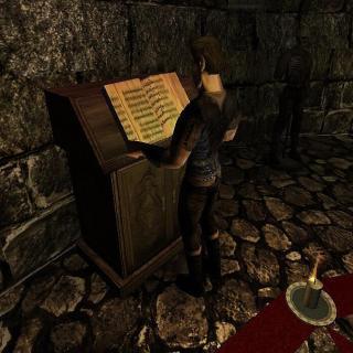 Безымянный читает фолиант у Ксардаса