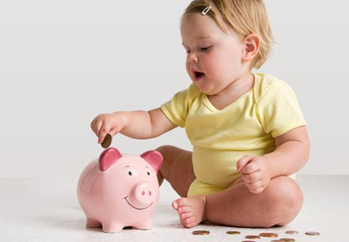Piggy bank savings, save money by children , child saving money
