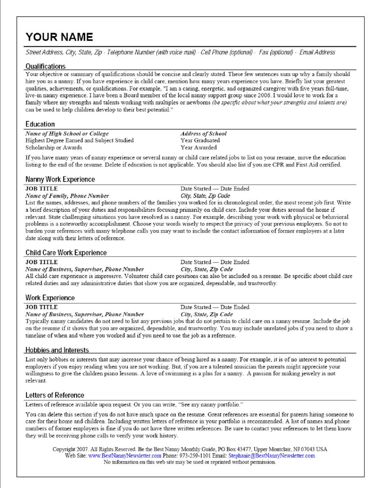 Creating A Nanny Resume