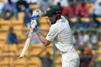 Australian batsman Shaun Marsh plays a shot during the second day of the second cricket Test match between India and Australia at The M. Chinnaswamy Stadium in Bangalore on March 5, 2017. ----IMAGE RESTRICTED TO EDITORIAL USE - STRICTLY NO COMMERCIAL USE----- / GETTYOUT / AFP PHOTO / Manjunath KIRAN / ----IMAGE RESTRICTED TO EDITORIAL USE - STRICTLY NO COMMERCIAL USE----- / GETTYOUT