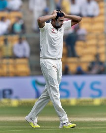 India's Ravichandran Ashwin reacts after bowling a delivery during the second day of their second test cricket match against Australia in Bangalore, India, Sunday, March 5, 2017. (AP Photo/Aijaz Rahi)
