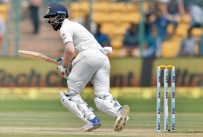 India's Lokesh Rahul watches his shot during the third day of their second test cricket match against Australia in Bangalore, India, Monday, March 6, 2017. (AP Photo/Aijaz Rahi)