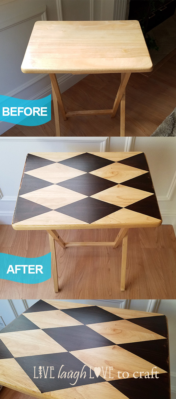 TV Tray Makeover With Diamond Harlequin Pattern Live Laugh Love To Craft