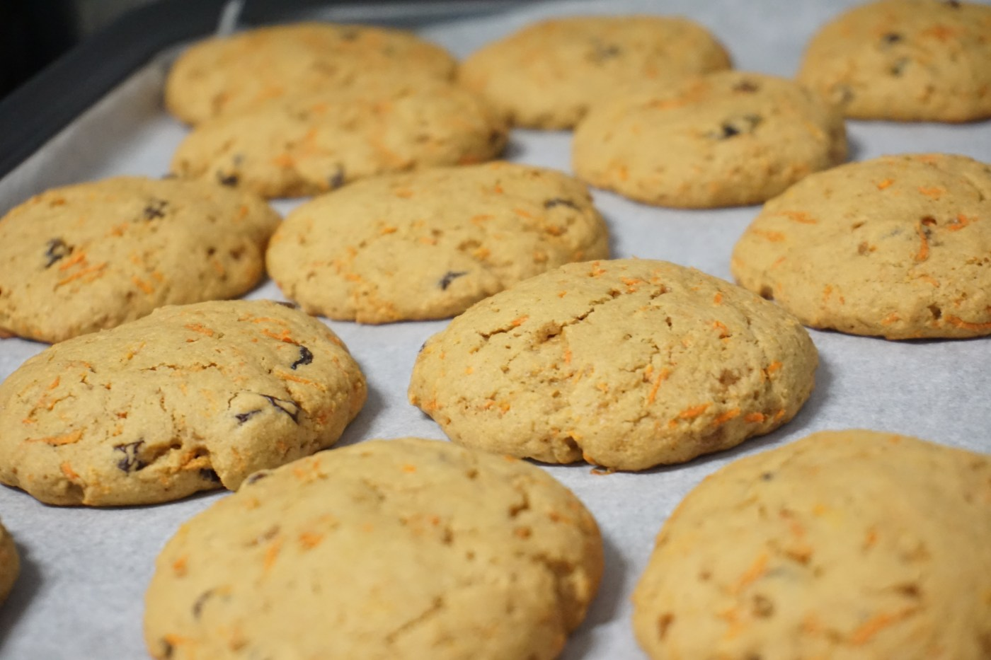 baked cookies on a parchment paper