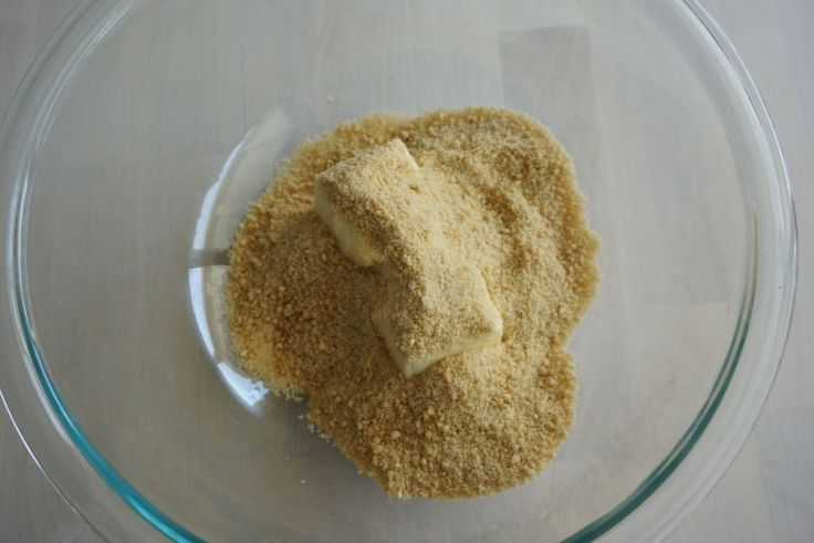 butter and jaggery powder in a bowl