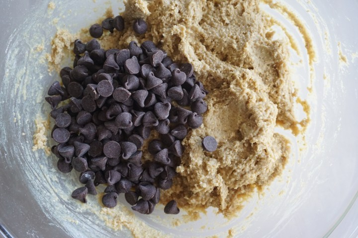 chocolate chips in cookie dough in bowl