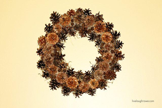 DIY Pinecone Wreath.  livelaughrowe.com #wreath