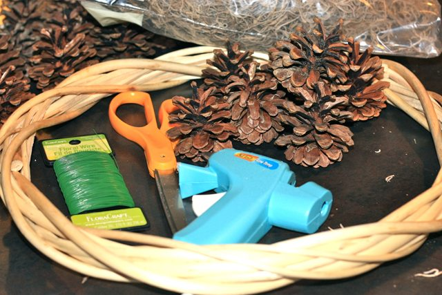 Supplies for DIY Pinecone Wreath