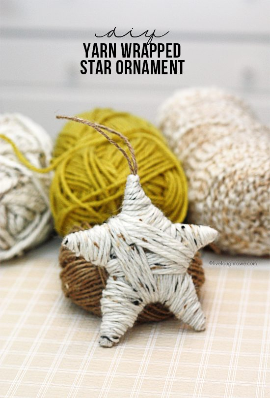 Easy DIY Yarn Wrapped Star Ornament. Great for gifting too. Tutorial at livelaughrowe.com