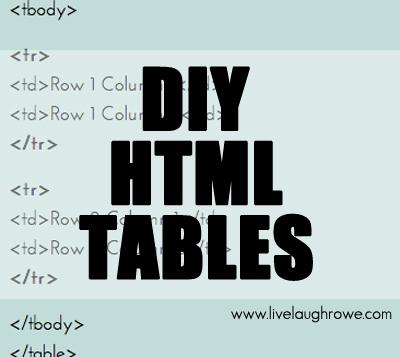 DIY HTML TABLES