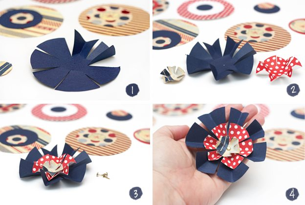 Steps for making the Patriotic Paper Flowers