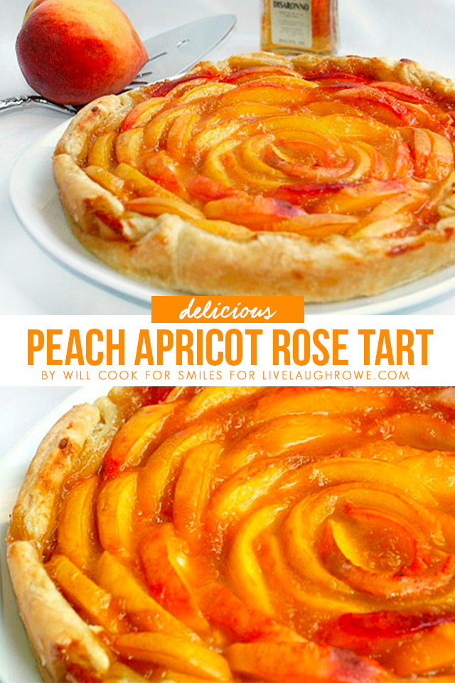 Collage of Peach Apricot Rose Tart Photos
