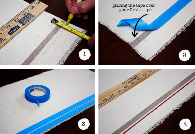 DIY drop cloth table runner thin stripe how-to