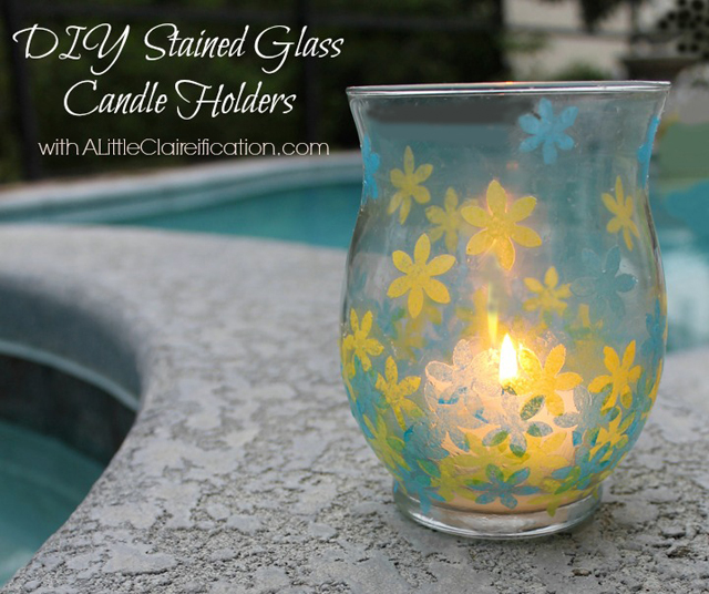 Guest Post   DIY Stained Glass Candle Holders with livelaughrowe.com