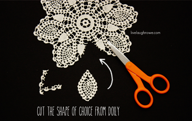 Cut your shape of choice from the doily for your DIY Boho Earrings