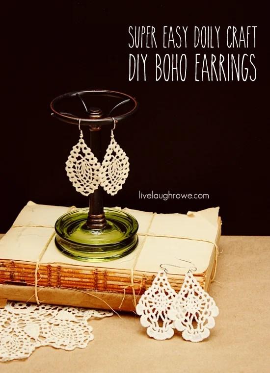 DIY Boho Earrings using a doily with livelaughrowe.com