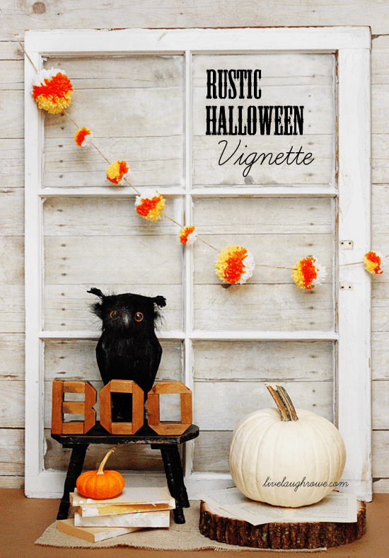 Festive and Rustic Halloween Vignette with livelaughrowe.com