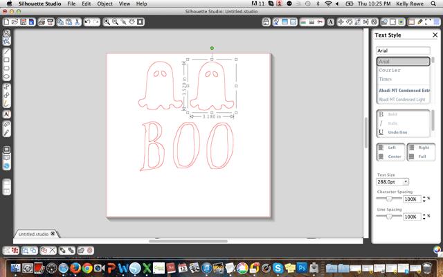 Making stencils for burlap Halloween banner