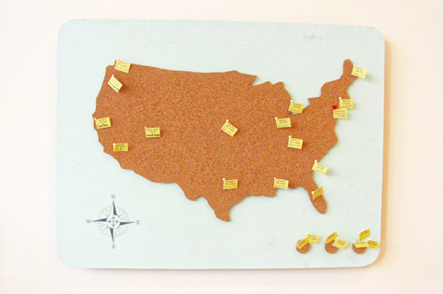 American Travel Map made of Cork via Design Sponge