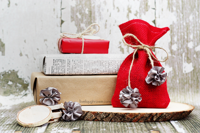 Use mini scrunchy bows to make festive and rustic gift ties. Tutorial at livelaughrowe.com