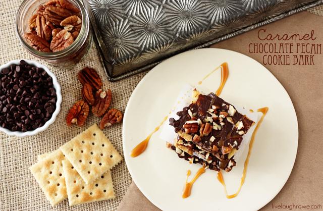Caramel Chocolate Pecan Cookie Bark via livelaughrowe.com
