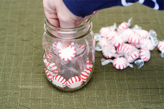 continue inserting peppermints between jar and votive holder