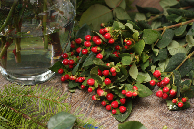 use hypericum and greens for filler in flower arrangements