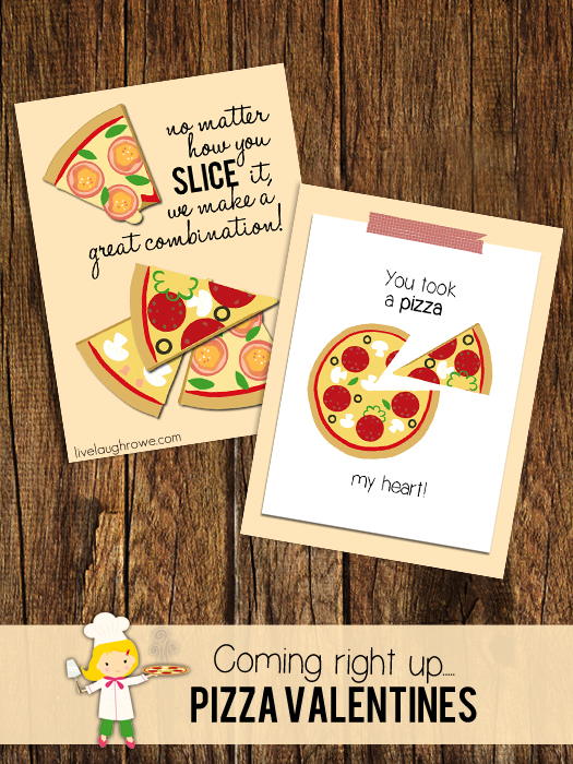 Fun for all ages, printable Pizza Valentines with livelaughrowe.com